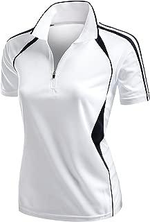 Women's Coolmax 2 Tone Collar Zipup Polo T-Shirt