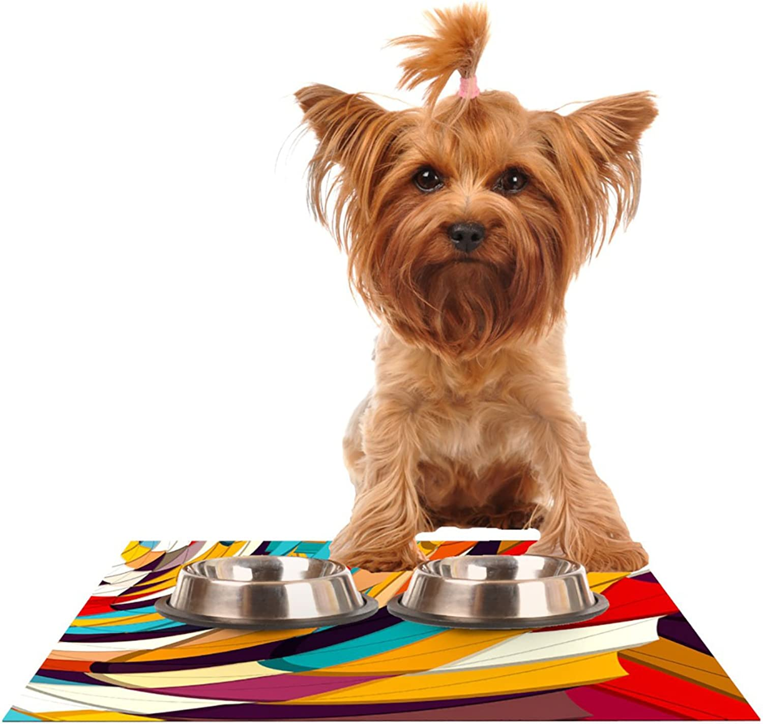 Kess InHouse Danny Ivan Demy World  orange Yellow Pet Bowl Placemat, 18 by 13Inch