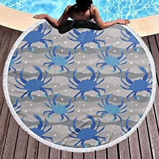 Allgobee Round Beach Towel Blue Crabs Maryland Large Blanket with Tassels Ultra Soft Multi-Purpose Beach Throw 59 Inch