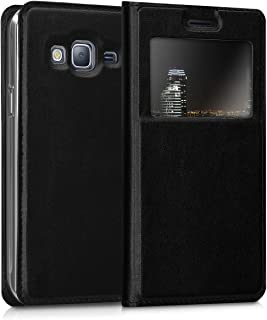 kwmobile Flip Case for Samsung Galaxy J3 (2016) DUOS - PU Leather Book Style Wallet Protective Cover with Window - Black