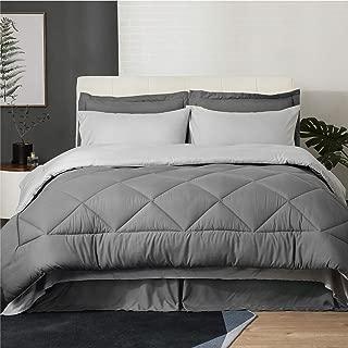 Bedsure 8 Pieces Queen Size Bed in a Bag, Dark Grey/Light Grey - Soft Microfiber, Reversible Bed Comforter Set (1 Comforter, 2 Pillow Shams, 1 Flat Sheet, 1 Fitted Sheet, 1 Bed Skirt, 2 Pillowcases)