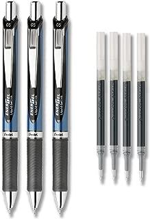 Pentel EnerGel Deluxe RTX Liquid Gel Ink Pen Set Kit, Pack of 3 with 4 Refills (Black - 0.5mm)