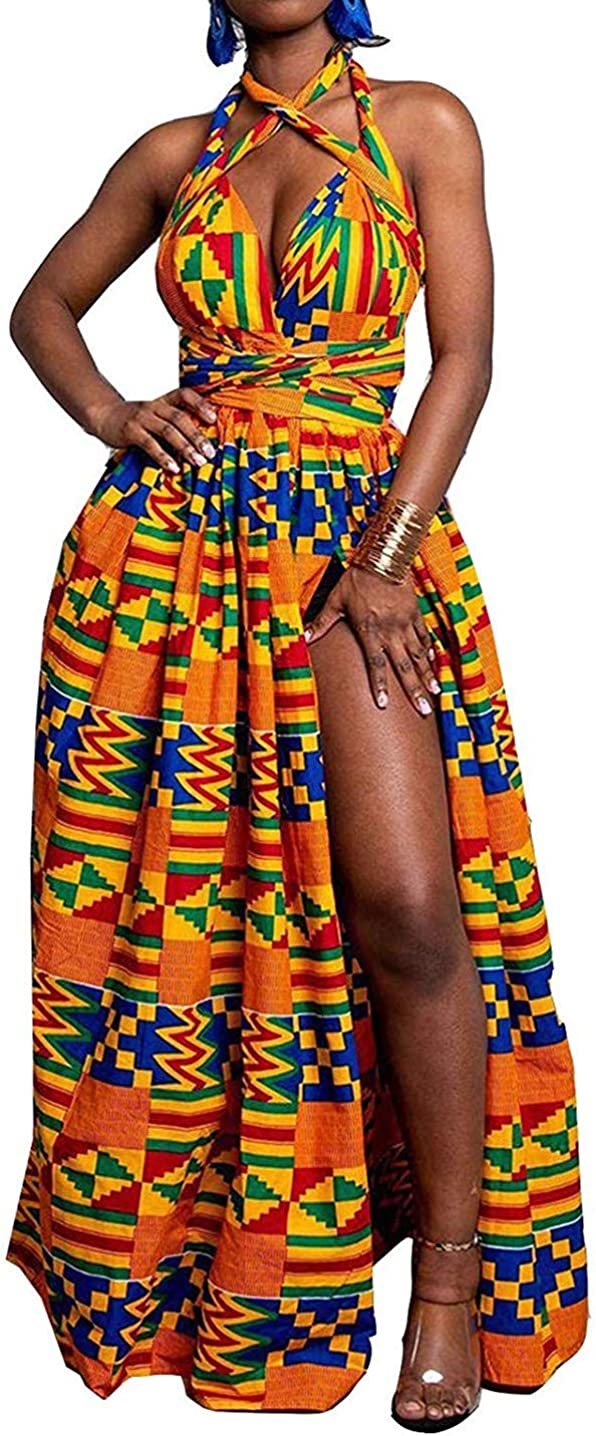ENLACHIC Women's African Floral Printed High Bohemian Beauty products Long Beach Mall Side Slit