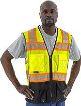 Majestic 75-3239 Heavy Duty Yellow Safety Surveyor Vest ANSI 2 Black Bottom XL Size