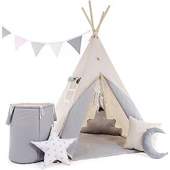 Kinder Teepee Tipi Set für Kinder Spielzeug drinnen draußen Spielzelt Zelt 8 Elemente dabei Tipi-Set Indianer Indianertipi mit Fenster usw. (Tipi mit 8 Elementen, Grauer Wolf)