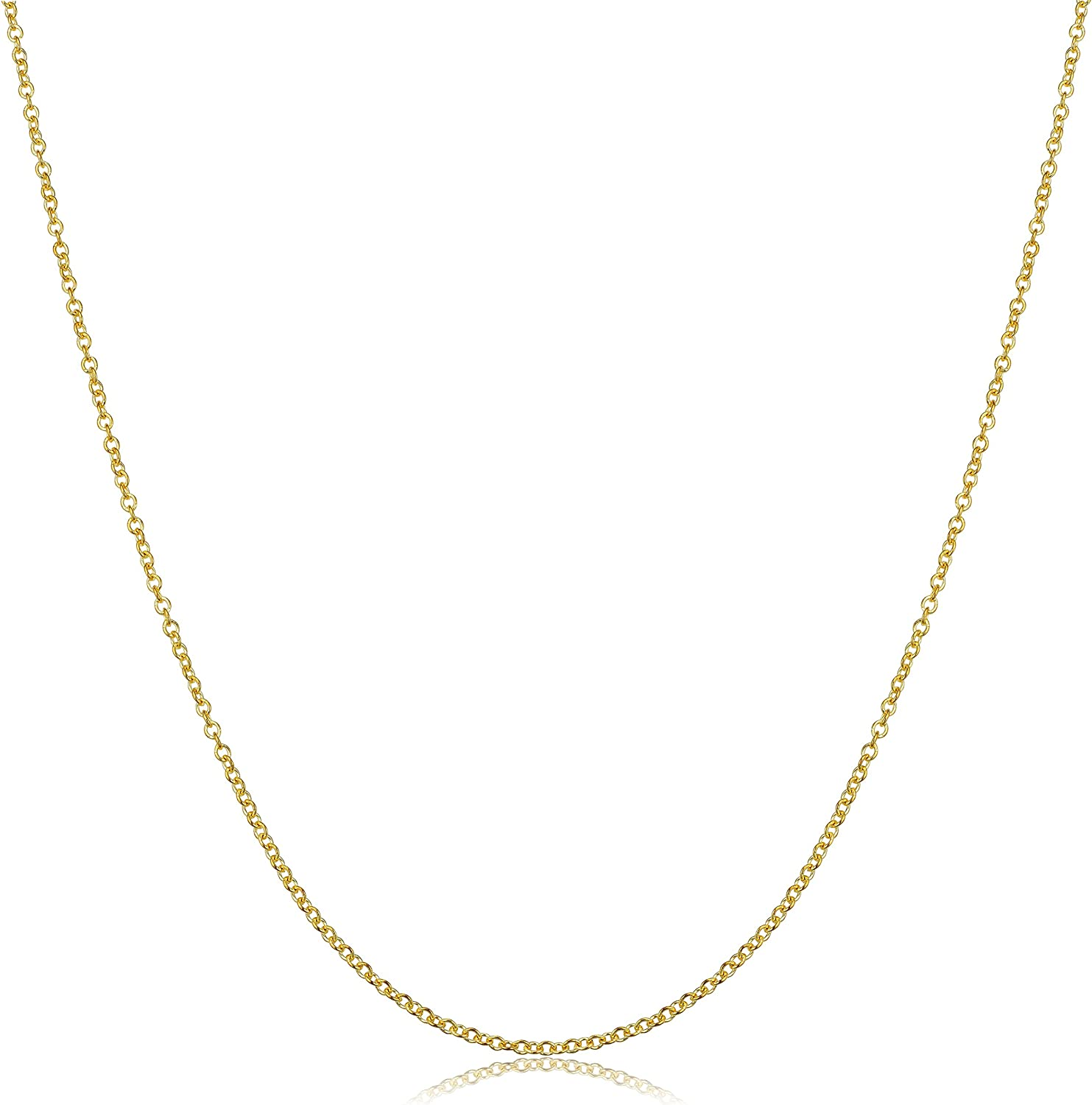 Kooljewelry 10k Yellow Gold Round Cable Chain Necklace (1.4 mm, 18 inch)