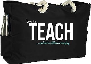 KEHO Ultimate Teacher Waterproof Multi Pocket Tote Shoulder Bag (Huge) - Perfect Usable Gift for Teacher Appreciation, Comfy Rope Handles & Perfect Work Bag