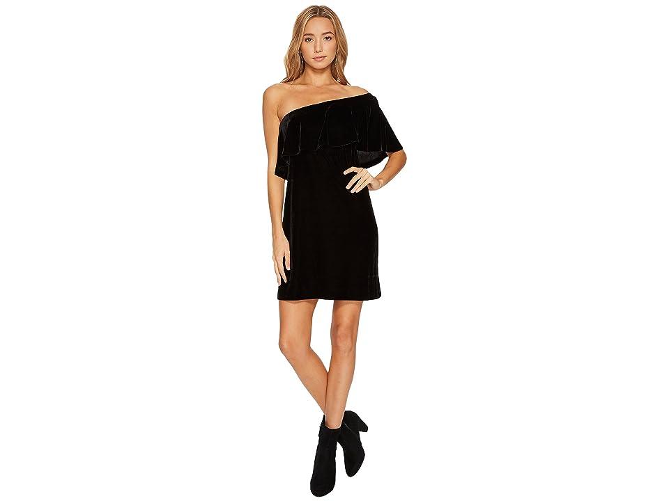 kensie Velvet One Shoulder Dress KSNK8266 (Black) Women