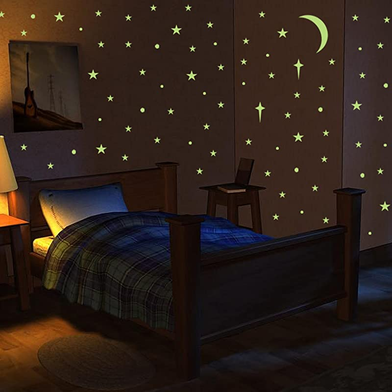 VOGEK Wall Stickers Glow In The Dark Stars Glowing Adhesive Stars Dots Moon For Ceiling Wall Stickers Perfect For Kids Bedroom Living Room