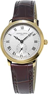 Frederique Constant Women's Slimline Stainless Steel Quartz Watch with Leather Strap, Brown, 14.05 (Model: FC-235M1S5)