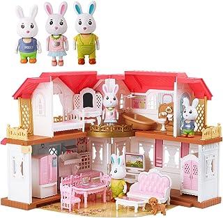 ArgoHome Dollhouse Playset, DIY Pretend Portable Caravan Camper Bus Toy Kit with Little Critters Bunny Dolls Mini Cottage ...