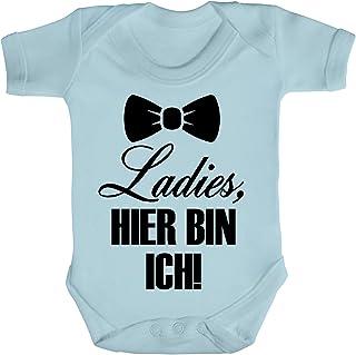 ShirtStreet Geschenkidee Geburt Strampler Bio Baumwoll Baby Body kurzarm Junge Ladies, hier bin ich