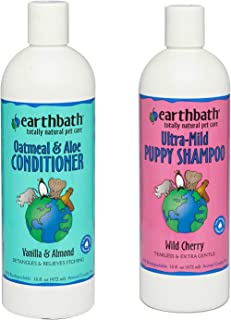 Earthbath Ultra-Mild Tearless Puppy Shampoo, Wild Cherry Scent, 16 Ounces Oatmeal and Aloe Conditioner for Dogs and Cats, Vanilla Scent,16 oz