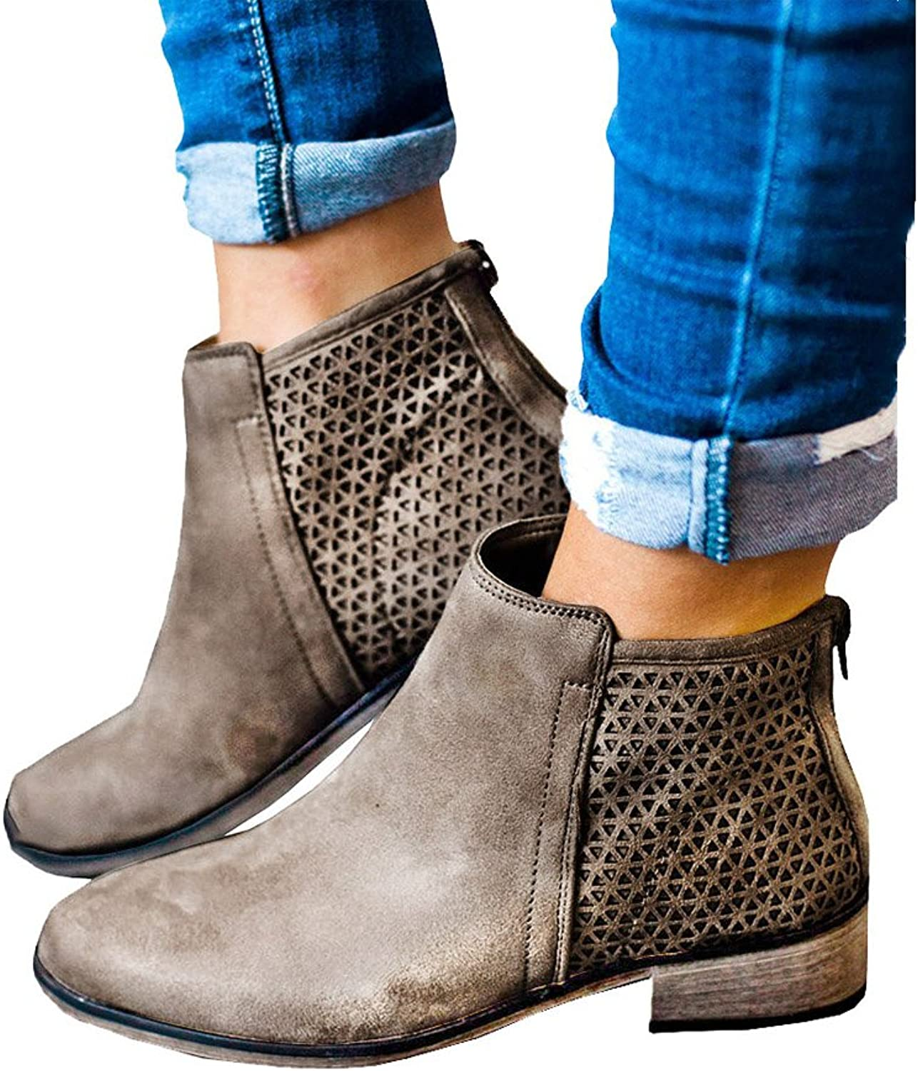 Fashare Womens Fall Ankle Boots Low Stacked Heel Booties Hollow Out Back Zipper Western shoes