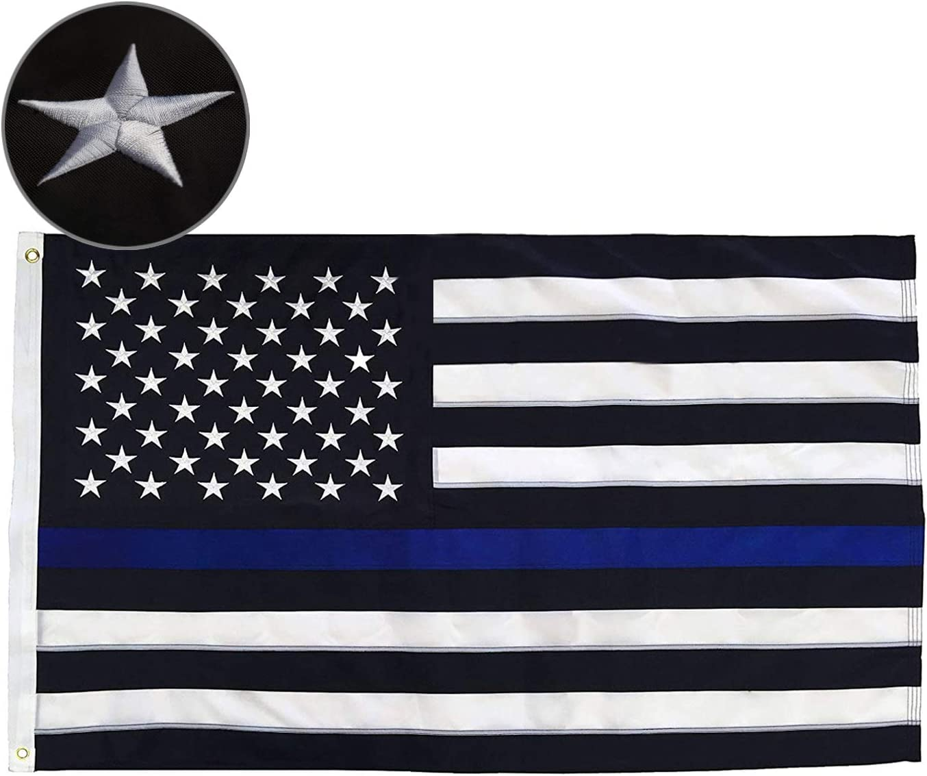 Thin Max 69% OFF Blue Line American Flag a Durable Embroidered Stars Cheap super special price Deluxe