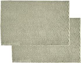 Just Linen Pair Of Chenille Pom Pom Anti-slip Steel Grey Floor Mats - 2 Pieces