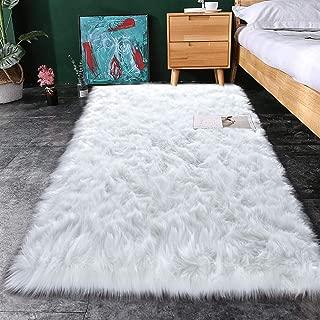 Noahas Luxury Fluffy Rugs Bedroom Furry Carpet Bedside Sheepskin Area Rugs Children Play Princess Room Decor Rug, 2.3ft x 5ft, White