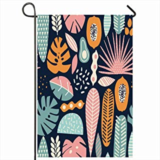 Ahawoso Outdoor Garden Flags 12x18 Inch Exotica Blue Summer Modern Exotic Jungle Fruits Plants Pattern Flower Nature Floral Tropical Leaf Vertical Double Sided Home Decorative House Yard Sign