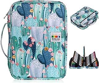 BTSKY Colored Pencil Case 220 Slots Pen Pencil Bag Organizer with Handy Wrap Portable- Multilayer Holder for Prismacolor Crayola Colored Pencils & Gel Pen Cactus