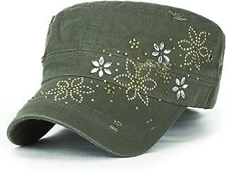 ililily Crystal Gemstone Stud Flower Vintage Cotton Military Army Hat Cadet Cap