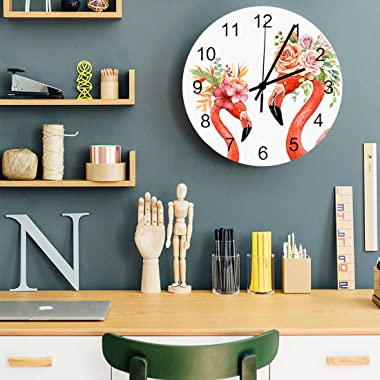Wall Clock Silent Non Ticking - Flamingo with Colorful Flowers 12 Inch Quality Quartz Battery Operated Round Wall Clock Easy