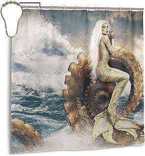 Tastedecor Fantasy Mermaid Octopus Sea Wave Ocean Bathroom Shower Curtain with 12 Hooks,Fabric Durable Waterproof Home Decor Set-72x72
