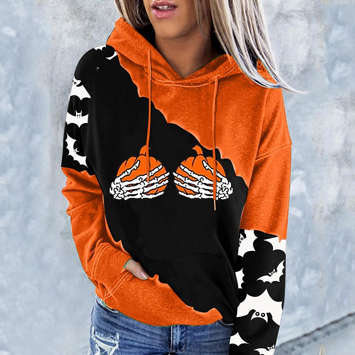 AODONG Hoodie for Women, Womens Funny Pumpkin Hoodies Casual Long Sleeve Pullover with Pocket Fall Hooded Sweaters
