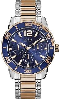 GUESS Men's 46mm Two Tone Steel Bracelet Steel Case Quartz Blue Dial Analog Watch W1249G3