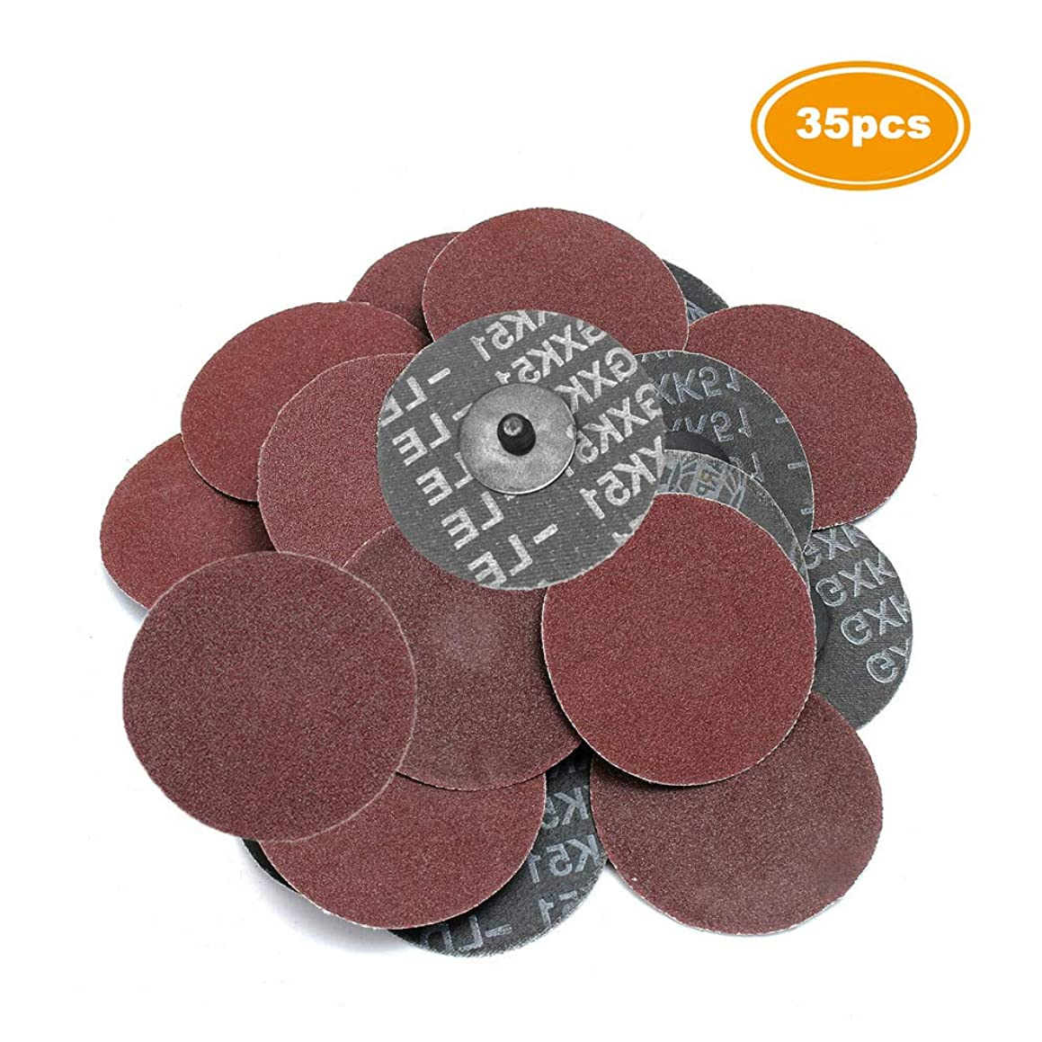 Saiper 35pcs 3 Inch 80 Grit Sanding Discs Roloc Roll Lock Aluminium Oxide Sanding and Grinding Discs for Surface Prep Strip Grind Polish Finish Burr Rust Paint Removal