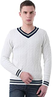 uxcell Men V Neck Cable Pattern Ribbed Long Sleeves Pullover Knitted Sweater