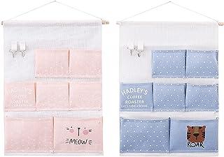 2 Pièces Sac de Rangement à Suspendu avec 7 Poches et 2 Crochets à Clés, Sac de Rangement Mural Tissu Lin Organisateur pou...