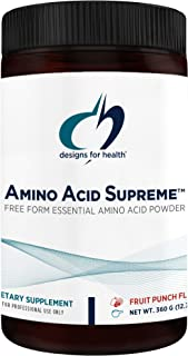 Designs for Health Complete Amino Acid Powder with BCAAs - Amino Acid Supreme, Fruit Punch (30 Servings / 360g)