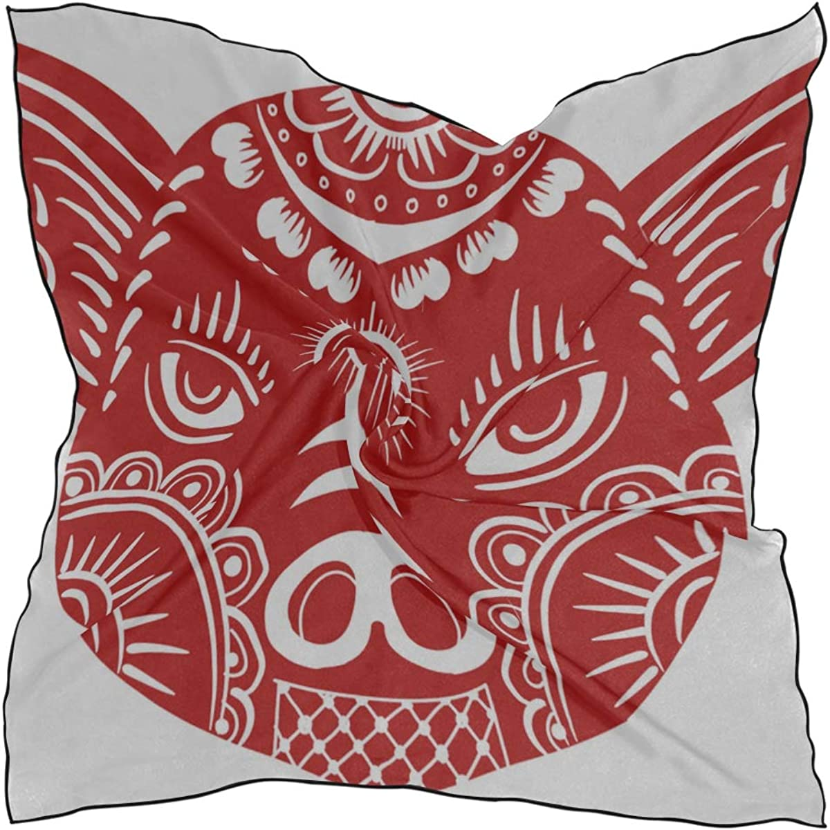 Soft Polyester Silk Square Scarf Fashion Print Chinese Traditional Paper Red Pig Wrap Hair Scarf Hair Scarf Wrap Head Scarf Multiple Ways Of Wearing Daily Decor