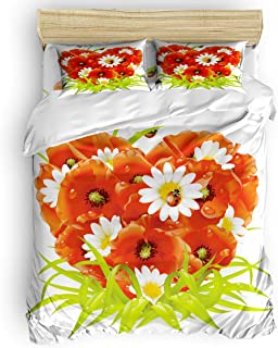 Duvet Cover Set Printed 4 Pcs Bedding Set King Size Include Duvet Cover, Bed Sheet, Pillow Shams Ladybugs Stand in Heart Shaped Chrysanthemums Soft Quilt Sets for Children/Adults