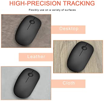 VicTsing Wireless Mouse, 2.4 G Slim Cordless Mouse with Noiseless Click, Computer Mouse with Nano Receiver for Laptop...
