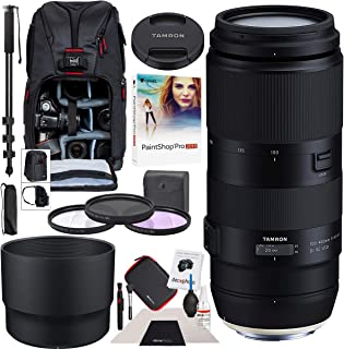 Tamron 100-400mm F/4.5-6.3 Di VC USD Lens for Canon AFA035C-700 Bundle with Sling Backpack, Paintshop Pro 2018, 72-Inch Monopod, 67mm Filter Kit and Cleaning Kit