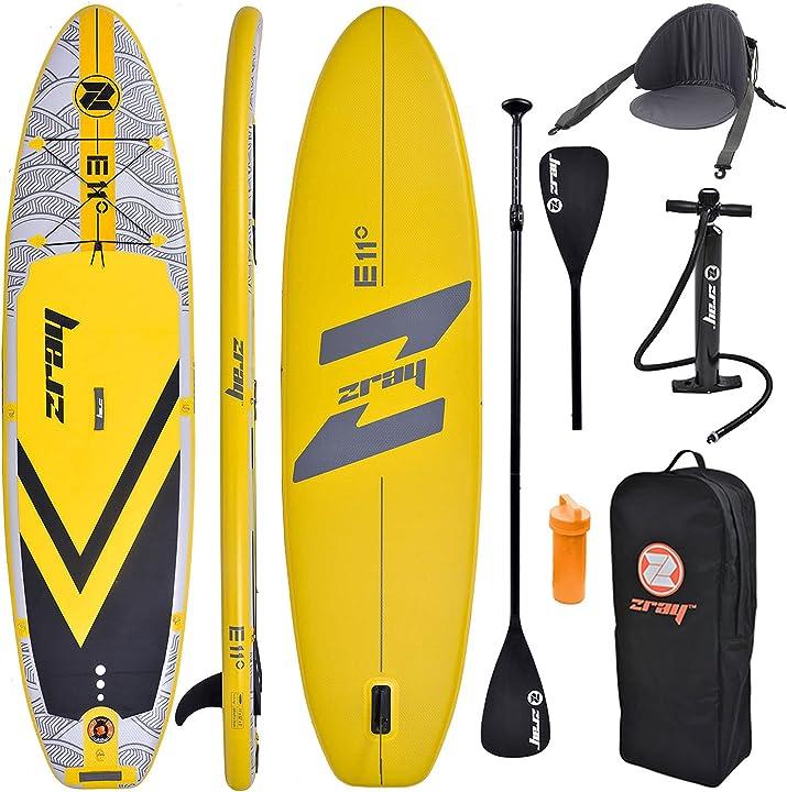 Sup tavola  gonfiabile stand up paddle completo confezione 335x84x12cm con kajak sedile e doppio remo zray PB-ZX1D-2020-YELLOW-B-KP-L-KS