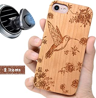 iProductsUS Wood Phone Case Compatible with iPhone 8, 7, 6/6S and Magnetic Mount, Protective Cases Engraved Hummingbird and Flowers,Built-in Metal Plate,TPU Shockproof Cover (4.7 inch)