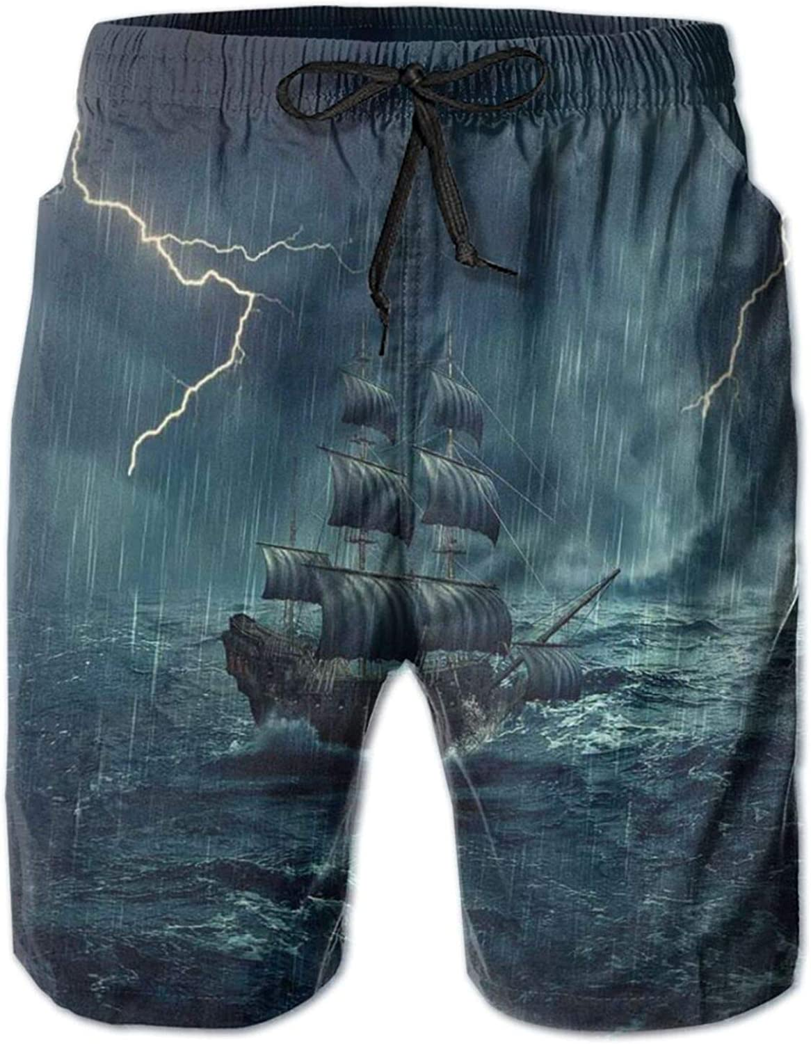 Stormy Rainy Weather Waves Pirate Vintage Ship Sailing Oil Paint Mens Swim Trucks Shorts with Mesh Lining,M