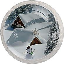 Winter Sneeuwpop Kerst Set van 4 Lade Knoppen Trekt Kast Handvat voor Thuis Keuken Garderobe Kast Home Decor Hardware Pull...