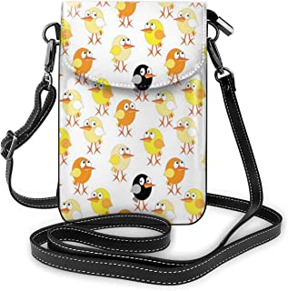 Women Small Cell Phone Purse Crossbody,Childrens Cartoon Design With Oval Shaped Baby Chickens Of Many Colors
