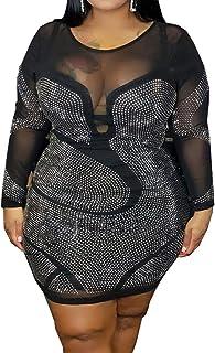 IyMoo Womens Sexy Plus Size Long Sleeve Rhinestone Mesh See Through Bodycon Party Club Mini Dress Clubwear