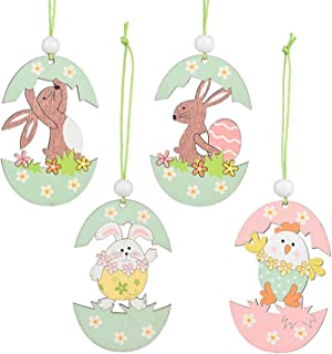 Easter Ornaments for Tree, 4 Pcs Easter Decorations Eggs Rabbits Bunny Holiday Home Decor for Easter Hunt(B)