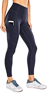 CRZ YOGA Women's Naked Feeling Workout Leggings 25 Inches - High Waisted Yoga Pants with Side Pockets
