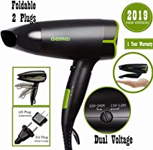 Folding Blow Dryer for Travel,Dual Voltage Hair Dryer,1200 to 1600W Professional Compact Small Negative Ionic Lightweight Worldwide 110-240V Hair Dryer,Cool Shot Button,Mini 9x10 Inch,Gifts for Women