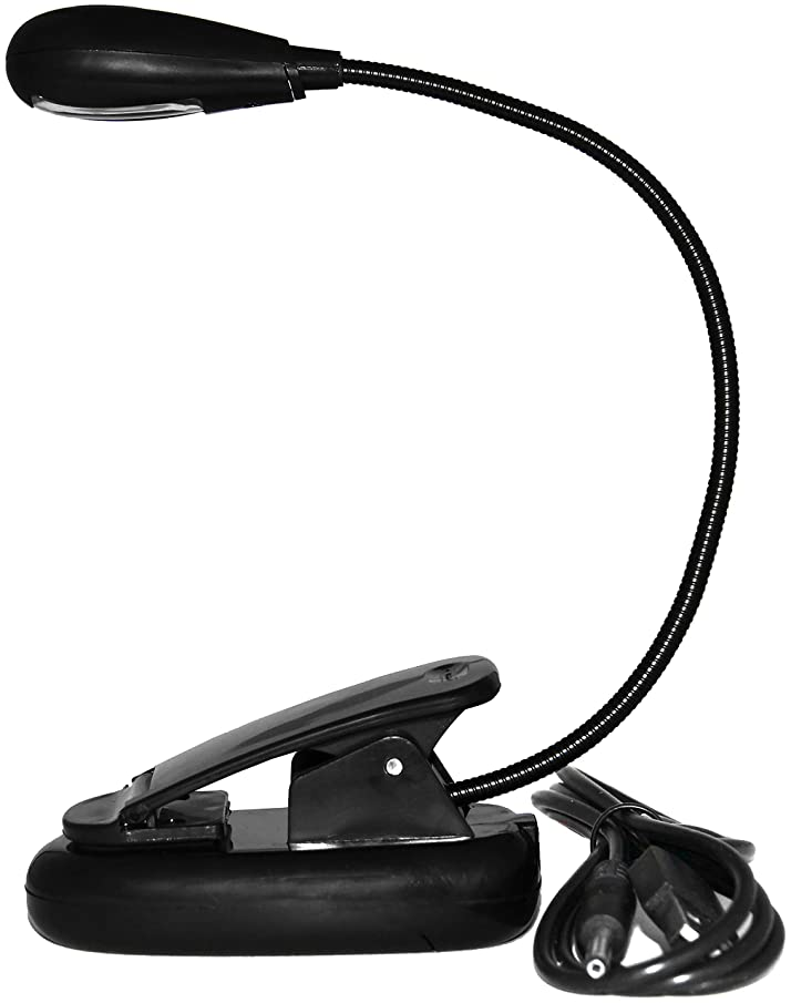 USB Reading Lamp with Flexible Gooseneck, Clip Mount and On/Off Switch (Single Arm, Black)