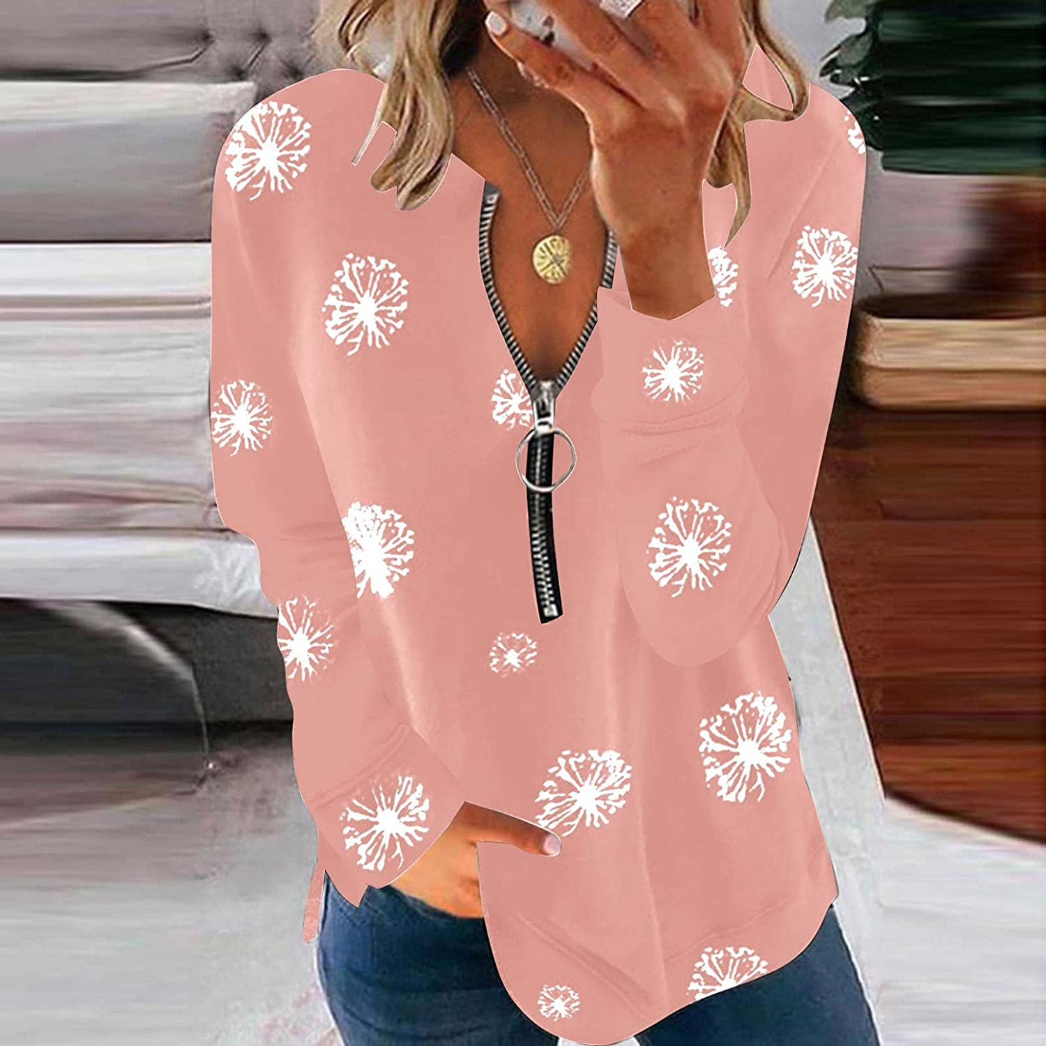 lucyouth Long Sleeve Shirts for Women Sexy,Deep V Neck Tunic Tops Zip Down T Shirts Casual Dandelions Print Blouses Tops