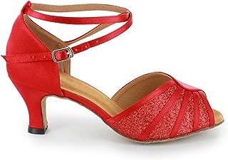 6,5 cm Flare Donne Scarpe da Ballo 141-087-389 Pelle//Scamosciata Rosso Diamant