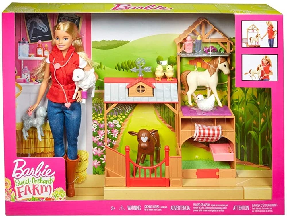 Barbie , dolce frutteto fattoria e playset con 7 animali GCK86