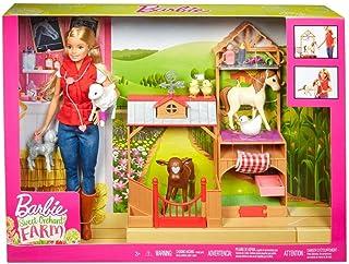 comprar comparacion Barbie Muñeca veterinaria Barbie en la Granja, incluye caballo, cabra, ternero, gallina, patitos, oveja y accesorios (Matt...